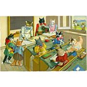 SOLD Max Kunzli Dressed Cats Postcard of Sewing Class