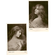 SALE Pair of Postcards by E.W. Savory - Beautiful Women Series - 5 of 5