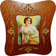 Ornate Curved Wood Frame with Gesso Embellishments - Beautiful Woman Print