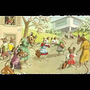 SOLD Mainzer Dressed Mice Postcard - School Days - Belgium
