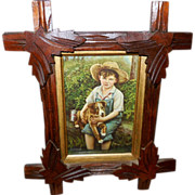 Boy with Puppy in Adirondack Style Wood Frame with Leaves