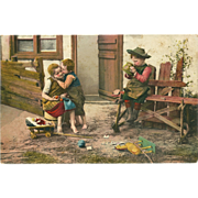 German Early 1900's Tinted Photo Postcard of Three Children Playing