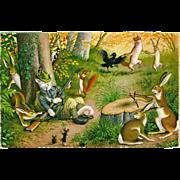 SOLD Max Kunzli Dressed Cats Postcard of Sleeping Hunter