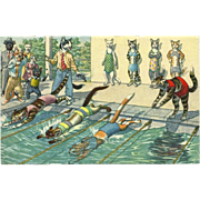 Max Kunzli Dressed Cats Postcard by Mainzer - Swimming Race
