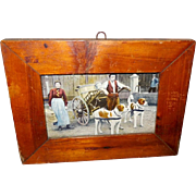 Primitive Small Wood Frame with Tinted Photo Image of Dog Driven Cart