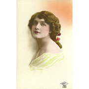 French SAPI Tinted Photo Postcard of Dark Haired Lady
