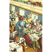 SOLD Alfred Mainzer Dressed Cats Postcard - Bedlam on the Train