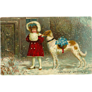 SOLD Vintage 1909 French New Year Postcard with Girl and Dog