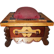 Folk Art Three Tone Wood Sewing Box with Drawer and Pin Cushion