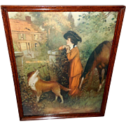 SOLD The Old Homestead Vintage Print by Joseph Warren 1912 - Woman, Horse, and Dog