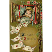 Embossed German Valentine Postcard with Cupid Delivering Letters 1910