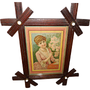 Chromolithograph by Bufford in Criss Cross Porcelain Button Frame