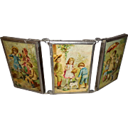 SOLD Vintage Child's Tri-Fold Triple Hanging Mirror with Scenes of Children