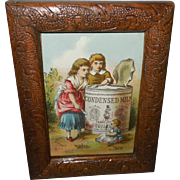 Small Advertising Card for Condensed Milk with Children and Baby Doll