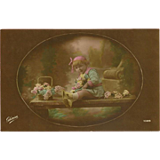 SOLD Vintage French Tinted Photo Postcard of Young Girl with Flowers