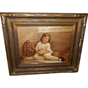 Lovely Tinted Photo Print of Young Girl in Wood and Gesso Frame