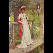 Vintage Postcard of Lady on a Foot Bridge