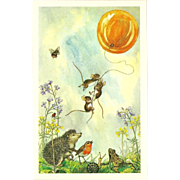 SOLD Medici Society Postcard of Animals and Balloon by Molly Brett