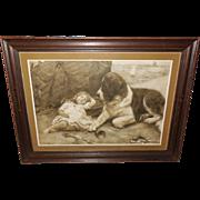 SOLD Arthur Elsley 1907 Print of Keeping Watch - Saint Bernard and Sleeping Girl
