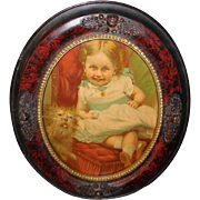 Chromolithograph of Young Girl with her Dog - Oval Acorn Frame
