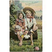 Raphael Tuck Valentine Postcard of Young Boy and Girl