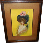 James Ross Bryson Vintage Print of Lady in Large Black Hat