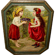 Chromolithograph of Two Girls in Octagonal Frame