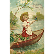 SOLD Embossed 1908 Birthday Postcard with Girl in Canoe