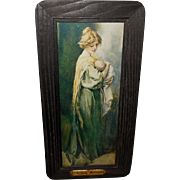 Maud Stumm Vintage Print of Young Mother with Brass Plaque