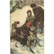 SOLD Advertising Postcard with Couple and Sled Dogs Signed by D.C. Hutchison