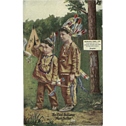 SOLD Advertising Postcard 1912 for Herman Reel Furs and Wool with Boys Dressed as Indians