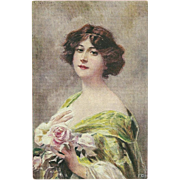 Vintage Franz Wobring Postcard of Lovely Lady