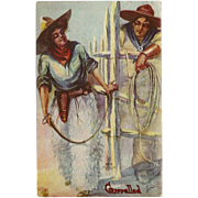 SOLD Artist Signed H.H. Tammen 1908 Postcard of Cowboy and Cowgirl - Corralled