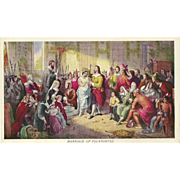 Prudential Advertising Postcard of the Marriage of Pocahontas