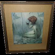 SOLD Raphael Kirchner Vintage Print of Ondine - Mermaid or Water Nymph
