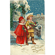 Embossed 1909 Christmas Postcard of Children in Snow