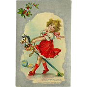 Embossed Christmas Postcard of Girl on Toy Horse