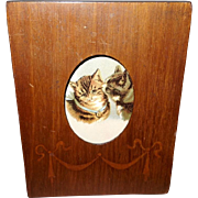 Small Table Top Wood Frame with Chromo of Two Kittens