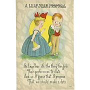 SOLD Vintage Postcard of Two Children A Leap Year Proposal