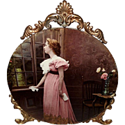 SOLD Ornate Ullman Print on Glass of Lady with Letter