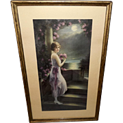 SOLD Adelaide Hiebel Vintage Print of Lady in Pink - A Moonlight Symphony
