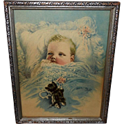 Harry Roseland Vintage Print of Baby with Kitten