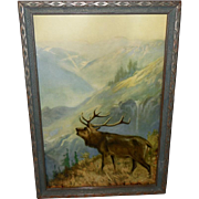 SOLD R. Atkinson Fox Vintage Print of Elk - The Answering Call