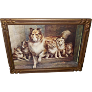 SOLD Edmund Osthaus Vintage Print of Friendly Scots - Dog and Puppies