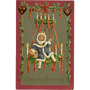 German Embossed Christmas Postcard of Girl