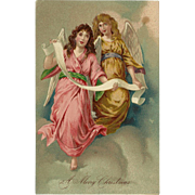 German Embossed Christmas Postcard of Two Angels