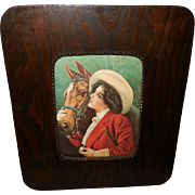 Vintage Print of Lovely Lady with her Horse - Wide Wood Frame