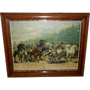 SOLD Chromolithograph of the Horse Fair by Rosa Bonheur