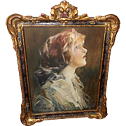 Edward A. Bell Vintage Print of Ideal Beauty - Ornate Gesso Frame