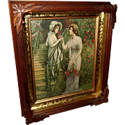 SOLD Deep Walnut and Gold Shadow Box with Vintage Print of Mother and Daughter